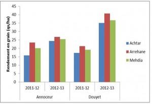 Fig2-Effets du génotype sur le rendement en grain en 2011-2012 et  2012-2013 au niveau de Douyet et de Annoceur