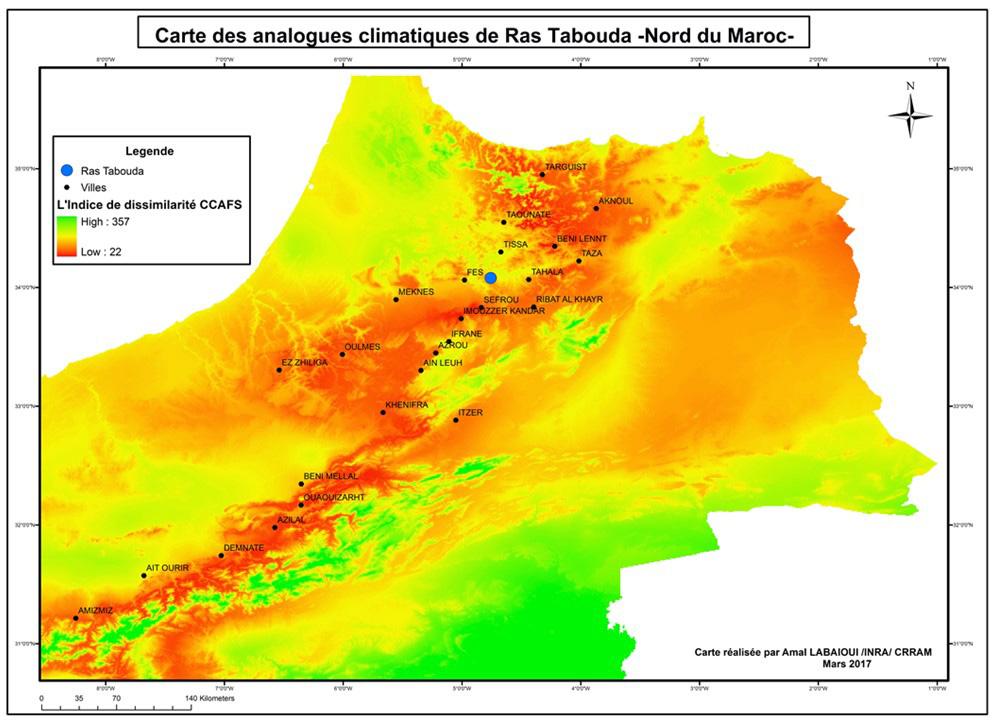 Figure 2 : Carte des analogues climatiques de la commune Ras Tabouda.