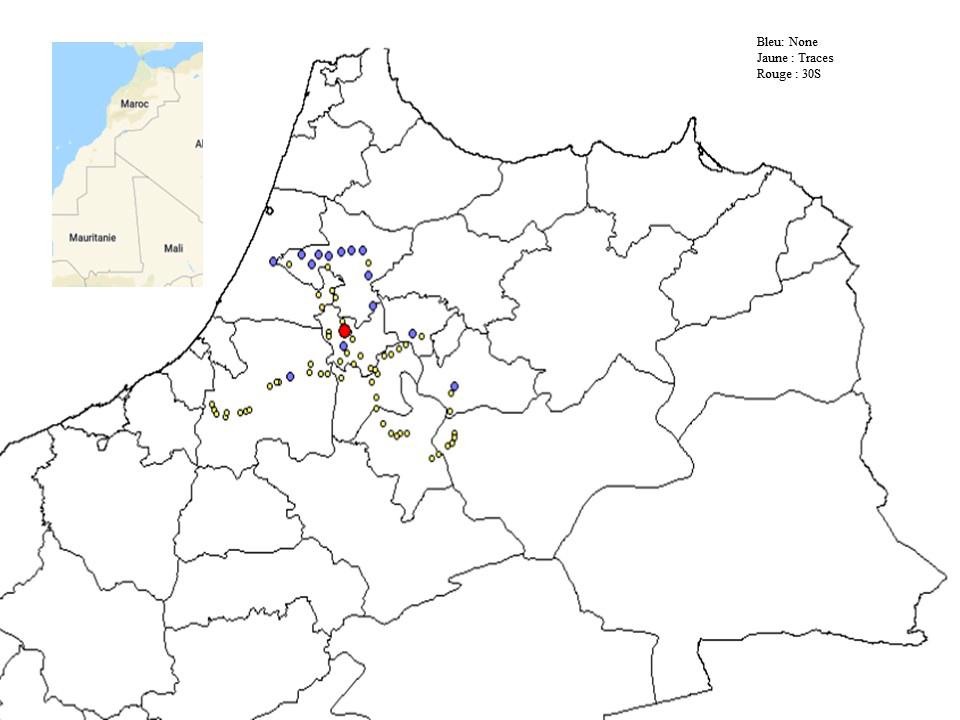 Figure 1 : Géolocalisation des champs de blé dur et de blé tendre inspectés et sévérité de la rouille noire évaluée, durant Mars 2020