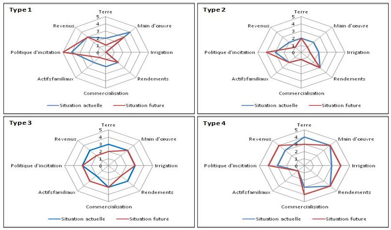 Figure 4. Performances actuelles et futures des quatre types d'exploitations considérées selon les huit indicateurs de résilience retenus