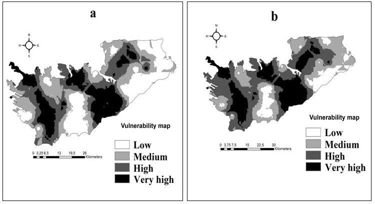 Figure 2. Cartes de vulnérabilités générées selon la méthode « Forêts aléatoires de classification » sur la base de 14 variables (a) et 6 variables classées importantes (b)